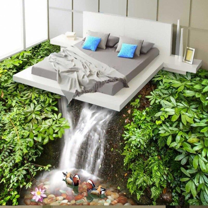 Beibehang, Envío Gratis, HD 3D, patos mandarín, piso de baño, cocina, piso, pasillo, papel tapiz 3D, murales, papel de pared