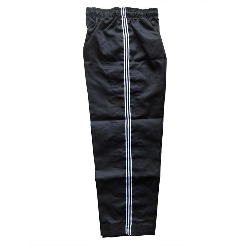 Pantalones de Taekwondo a rayas Dobok Tae kwon do uniformes Karate pantalones negros blancos profesionales Taekwondo entrenadores ropa chico a adulto