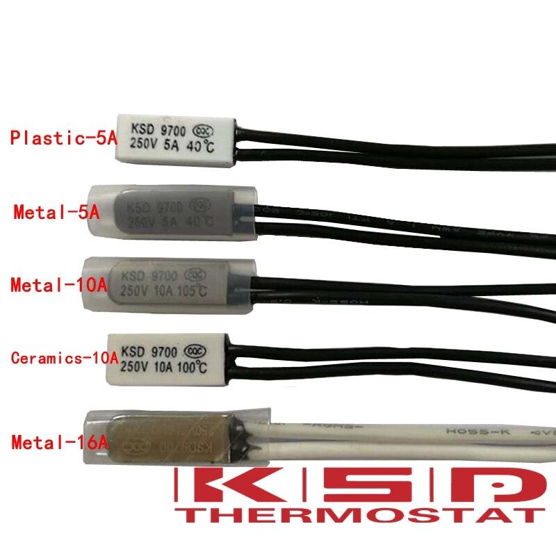 10 шт. KSD9700 термостат 65C 5A/10A/16A 250В переключатель температурного контроля нормального закрытия nc/no 40/45/50/55/60/65/70/80/85/90