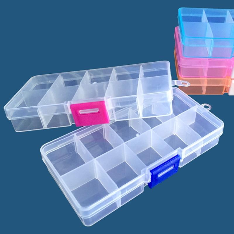 10 rejillas transparente caja de almacenamiento hogar DIY joyería uñas arte cuentas lentejuelas diamante recibir caja ajustable organizador portátil