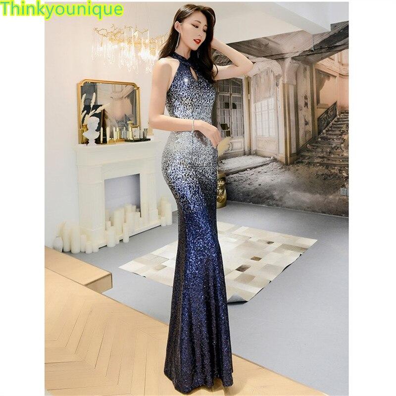 Halter vestido de fiesta con lentejuelas Formal vestidos largos de noche vestido...