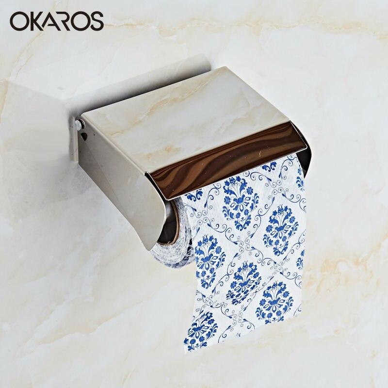 OKAROS Aksesuarlari Free Shipping Sus304 Stainless Steel Tissue Toilet Paper Holder Roll Wc Box Bathroom Accessories XY-P002