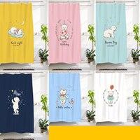 Custom Made Shower Curtain Bathroom Curtain Partition + Hooks 1.2/1.5/1.8/2x1.8m 1.5x2m 1.8x2m 2x2m 2.4x2m Bear White Pink Blue
