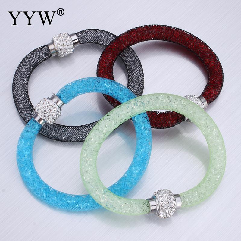 YYW 17cm pulseras de cordón de hilo de malla de Cristal brazalete pequeño Cristal de piedra encanto Ajuste de malla de diamantes de imitación Cristal pulseras de Cristal de las mujeres