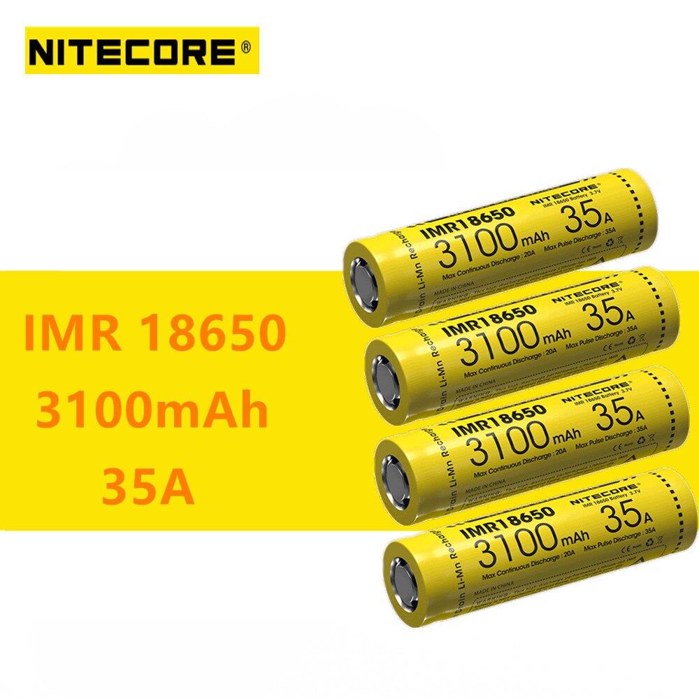 4 шт. оригинальные Nitecore IMR18650 IMR 18650 3100 мАч 35A 3,7 В батареи с высокой разрядкой аккумуляторная батарея идеально подходит для вейпинга устройств