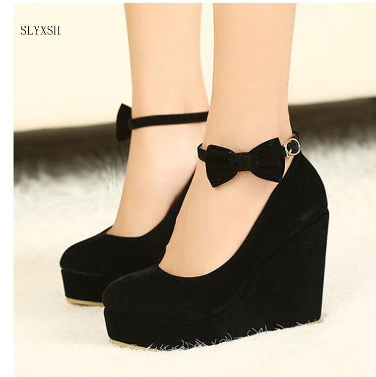 ¡Novedad! Zapatos de tacón alto para mujer, cuñas de plataforma de talla grande, zapatos femeninos elegantes con hebilla de flocado, lazo al tobillo, correa para fiesta, zapato de boda