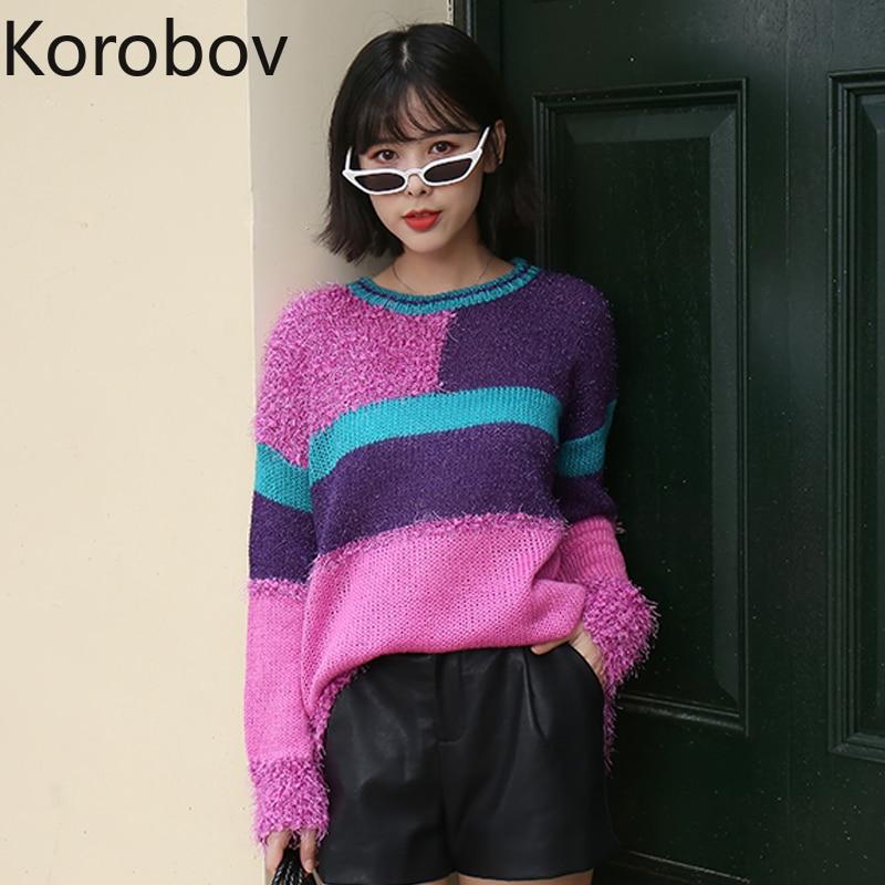 Korobov moda coreana Lurex mujeres suéteres Harajuku Hit Color Patchwork Sueter Mujer manga larga cuello redondo Jersey de punto 78258