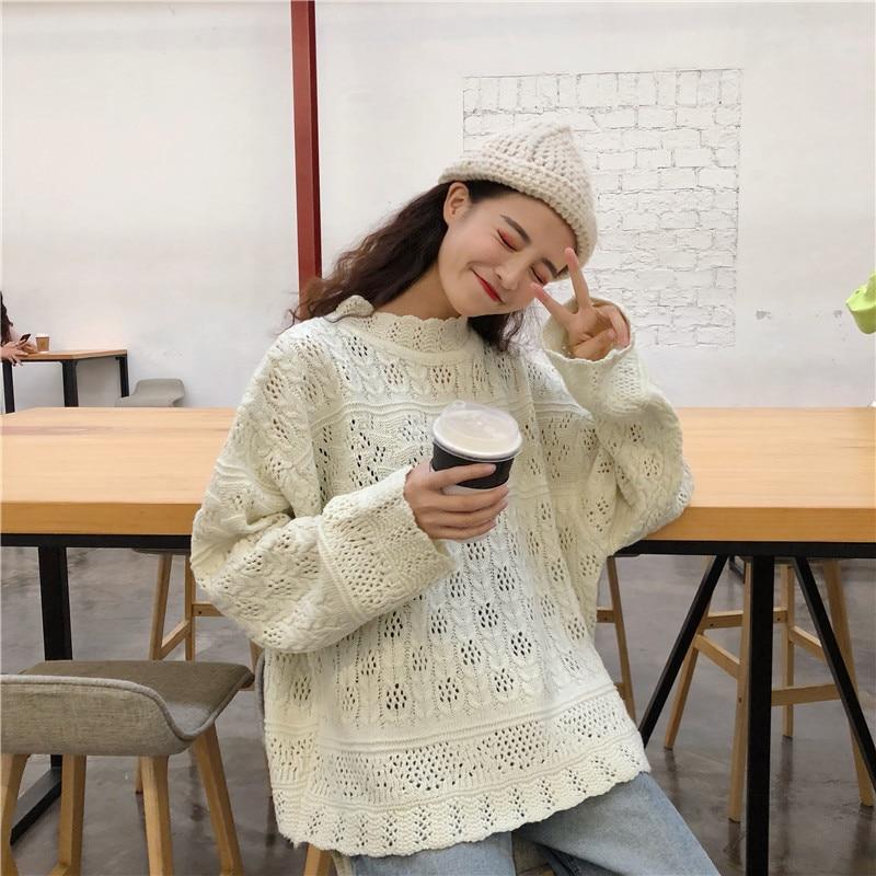 Suéter de punto para mujer 2019 coreano nuevo medio cuello manga murciélago Punto de primavera otoño suéter de manga larga Casual Top A511