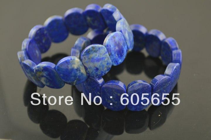 Natural Afeganistão Lapis Lazuli Praça Beads Bangle Pulseiras Da Linha Elástica