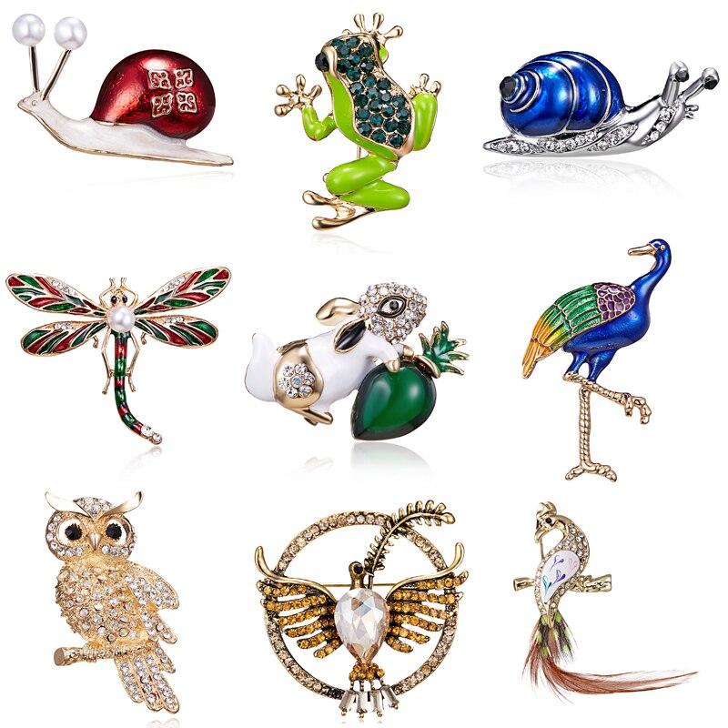 Mode Emaille Frosch Libelle Schnecken Broschen Schmuck für Männer Cartoon Tier Brosche Pins Für Kinder Geburtstag Geschenke Hüte Schmuck