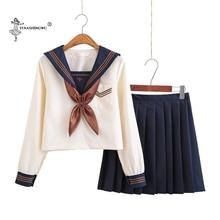 Japon okul üniforması s Anime COS denizci elbisesi Jk üniforma kolej orta okul üniforması kızlar kızlar için açık sarı kostüm