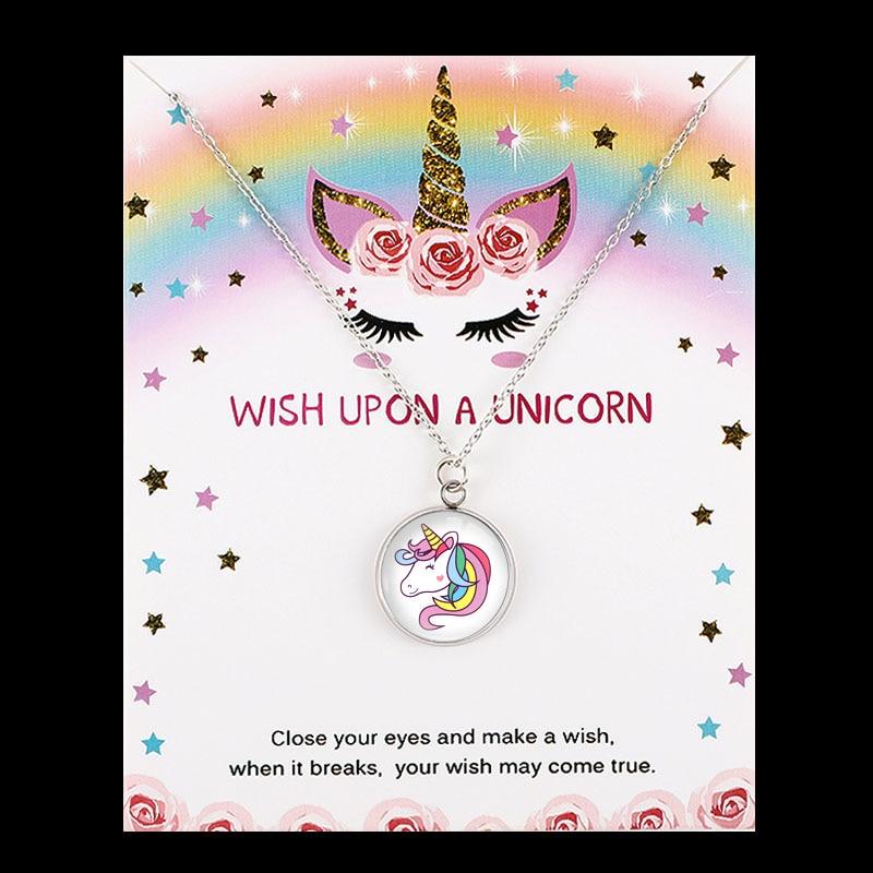 Unicorn Horse Pendants Necklaces Bee Honeybee Flamingos Mermaid Women Men Girl Charm Jewelry Party Birthday Gift Drop Shipping