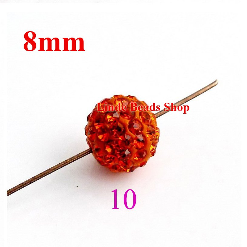 8mm Shamballe Contas enfeites de natal de Cristal de Argila bola constatação esferas orange SH08010