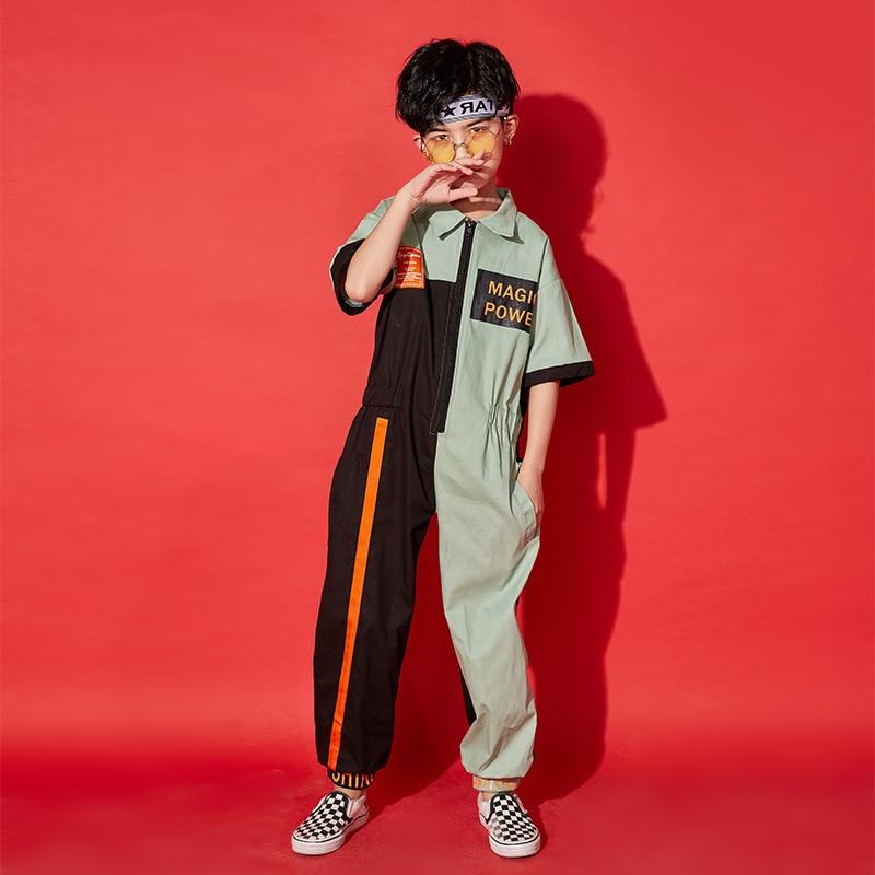 Primavera outono adlut crianças hip hop traje de dança wear menino meninas retalhos macacão preto verde uma peça calças harem jazz macacão