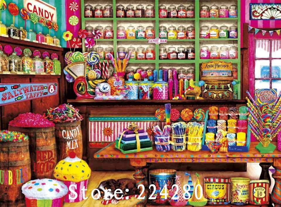 Needlework,14CT Counted Embroidery,Pink romantic Sweet candy shop DIY Aida Cross stitch kits,Art Pattern Cross-Stitching decor