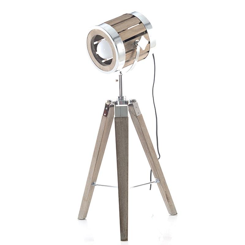 Soporte de trípode de Arte de madera Post moderno lámpara de escritorio lámpara de metal lámpara de mesa cuerpo de metal luz de lectura creativa bombilla E27 accesorio lgiht
