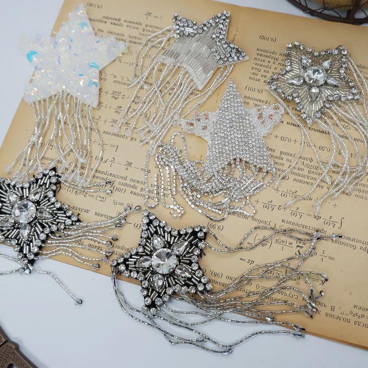stars hanging beads rhinestone cloth stickers DIY brooch jewelry shoulder flower bag sweater coat decorative