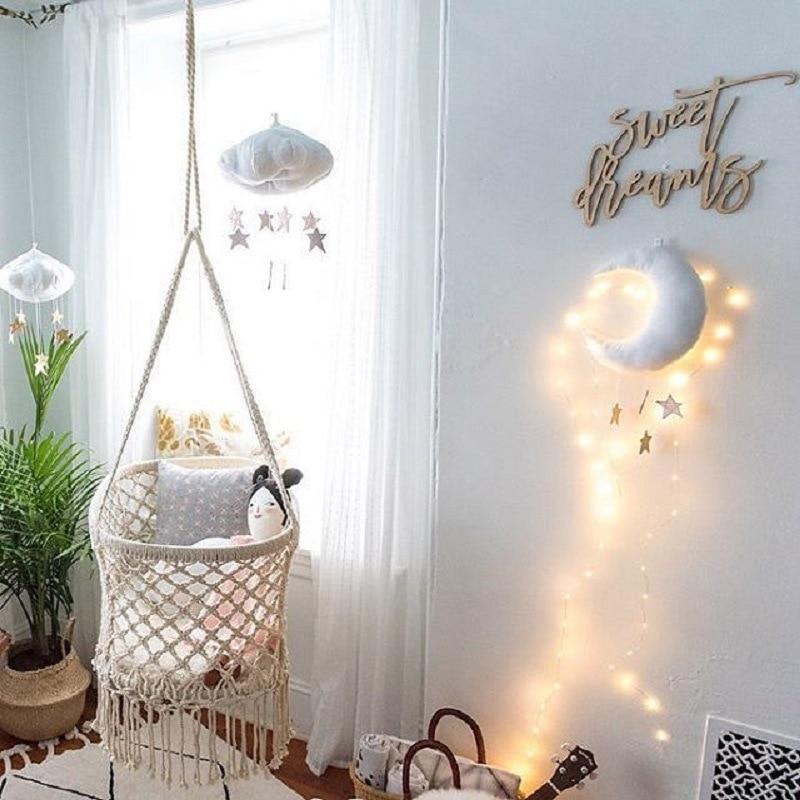 Nube flotante colgante con Luna estrellas bebé cama cuna habitación juego decoración bebé cama asiento de peluche de juguete, campana de mano de los niños