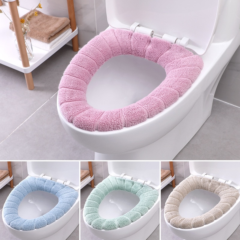 Universal lavables suaves tapete del asiento del inodoro Set para la decoración del hogar Closestool Mat funda de asiento más caliente tapa del inodoro cubierta Accesorios