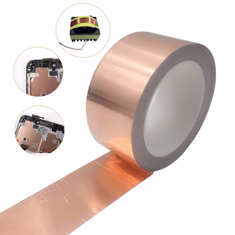 Adhesivo conductivo 5 8 10 15 20 30 40 50mm 20M EMI blindaje de lámina de cobre cinta Termocontraíble de aislamiento de alta temperatura impermeable