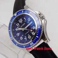 44mm BLIGER Miyota automatic wrist watch men polished SS case waterproof black dial luminous blue bezel black leather strap 143