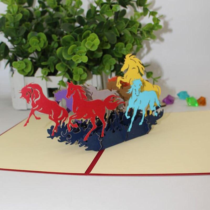 Cartão postal de corte a laser 3d escultura oco papel-corte origami caligrafia artesanal colorido galoping cavalo convite cartões