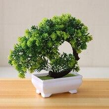 장식품 식물 분재 플라스틱 화분 작은 가짜 테이블 호텔 홈 장식 나무 냄비 정원 시뮬레이션 꽃 인공