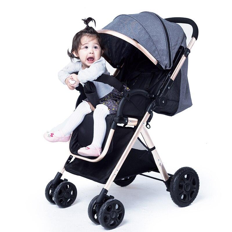 Двухсторонняя раскладная светильник детская коляска четырехколесная шок тележки Высокая Пейзаж может быть лежа электронной ручной тележк...