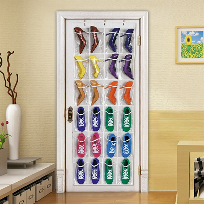Caja para colgar zapatos con 24 bolsillos por encima de la puerta, soporte de almacenamiento de zapatos con ganchos, ahorrador de espacio, organizador de almacenamiento hogareño práctico