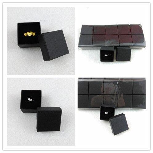 Caja de joyería de cinta de alta calidad de 50 uds/lotFashion, caja de papel para anillos, pendientes/caja colgante 4*4*3 caja de regalo de embalaje de exhibición