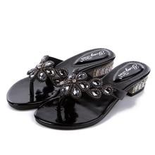 Nouvelles tongs en cristal dété de haute qualité épaisses avec des chaussures à talons hauts bas chaussons pour femmes tongs en strass
