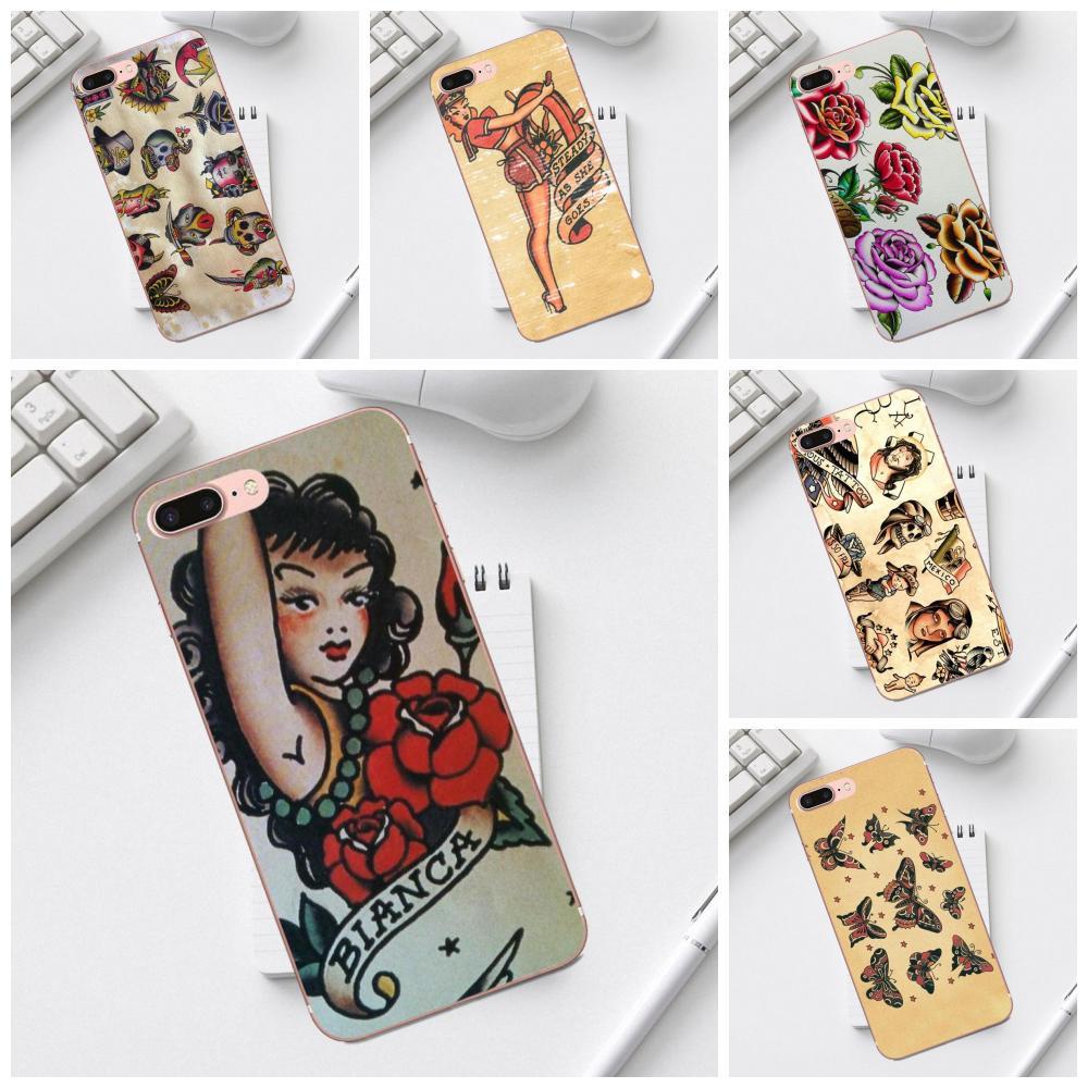 Para iPhone 4 4S 5 5C SE 6 6S 7 8 Plus X XS X Max XR Galaxy A3 A5 J1 J3 J5 J7 2017 suave casos Capa marinero Jerry Harry estilos tatuaje