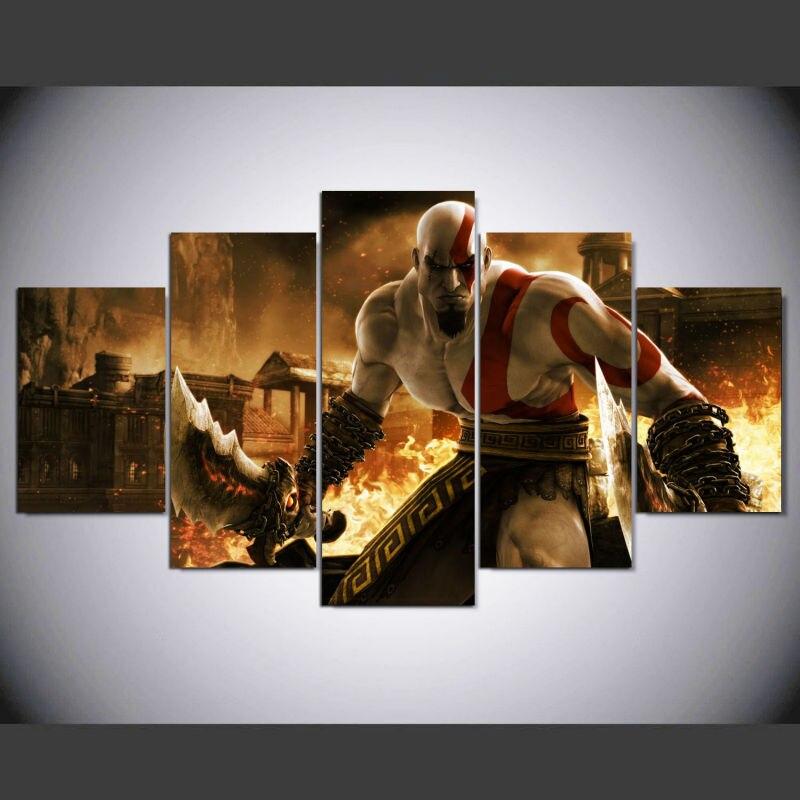 Dieu de Guerre Ascension Kratos 5 pièces Jeu Affiche Toile Peinture Mur Photos Pour Salon Modulaire Photos