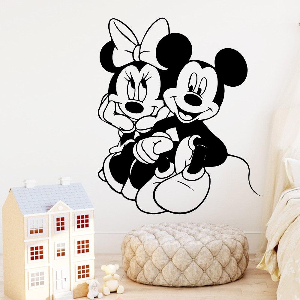 Pegatinas de vinilo bonitas de Mickey Minnie Mouse para pared, Mural para Decoración de casa para bebés, niños, niñas, decoración de habitación, calcomanía artística, papel tapiz LW34