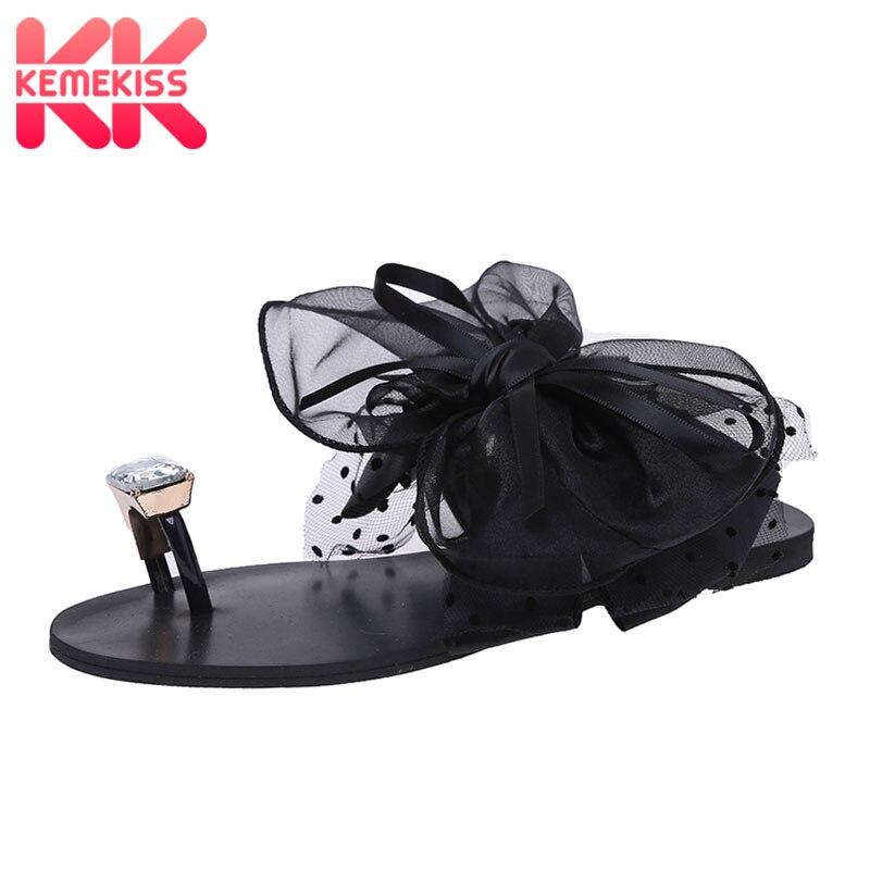 KemeKiss/женские плоские сандалии с бантиком; Вьетнамки; Сандалии на плоской подошве; Летние туфли; Женские вечерние туфли для отдыха на пляже; Размеры 35-42