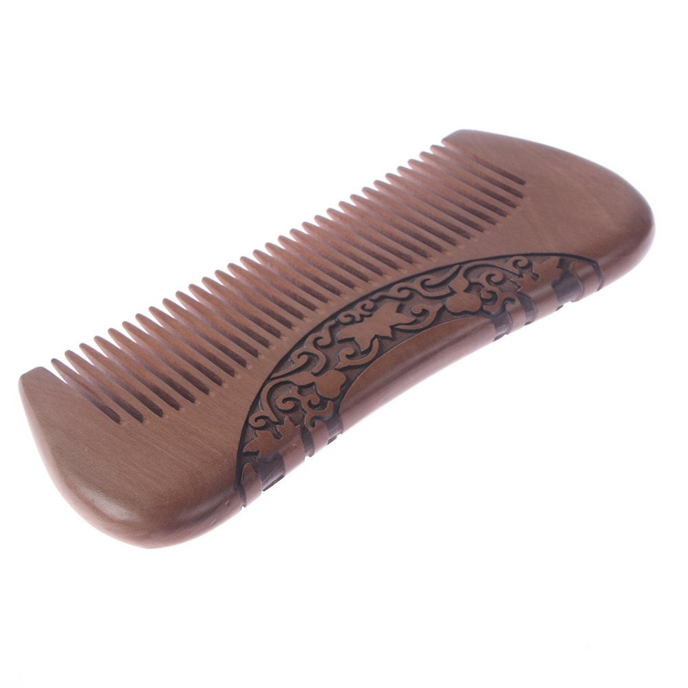 natural shen guibao wood buffalo horn exquisite thick long handle wooden comb coarse teeth hair massage no static combs Wooden Hair Comb Natural Wood Anti-static Carved Hair Combs Chinese Pocket Portable Sandalwood Narrow Tooth Wooden Beard Comb