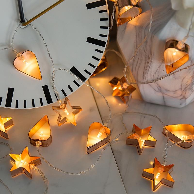 Nórdico Rose Gold Oco Estrelas Forma Do Coração Do Casamento Fada Luz Cordas Natal LED Festoon Led String Light Party Garden Garland