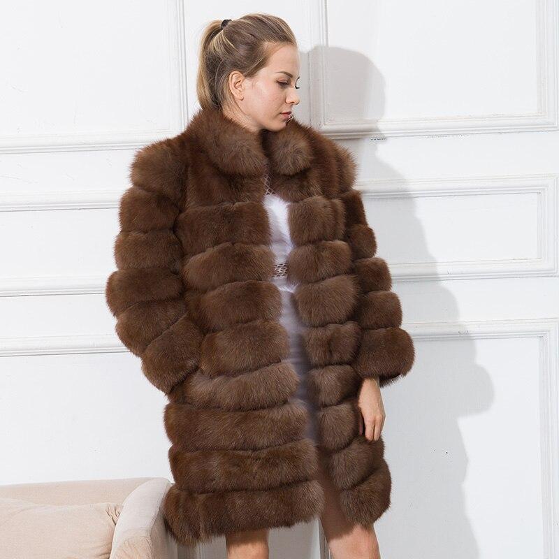 CNEGOVIK جديد المرأة فراء ثعلب حقيقي معطف المرأة طويل الأزرق الثعلب الفراء معاطف الثعلب سترة 90 سنتيمتر
