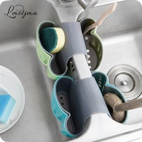 LMETJMA 2 Sided Kitchen Sink Hanging Strainer Storage Holder Bag Sponge Towel Draining Rack Cleaning Brush Toothbrush Holder