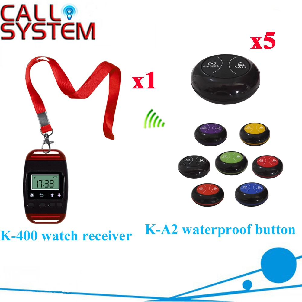 Table Watch Pager System Most Popular Wrist Pager With Waterproof Buzzer Bell Equipment(1 watch+5 call button)