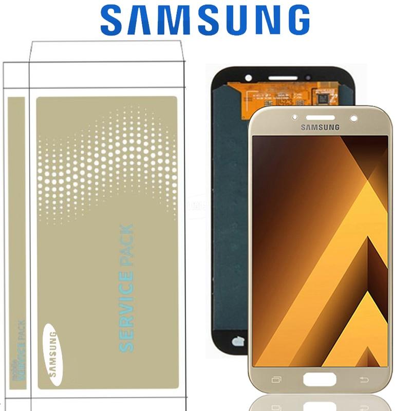 """Repuesto de 5,2 """"Super AMOLED para Samsung Galaxy A5 2017 A520 A520F SM-A520F pantalla LCD digitalizador de pantalla táctil con marco"""