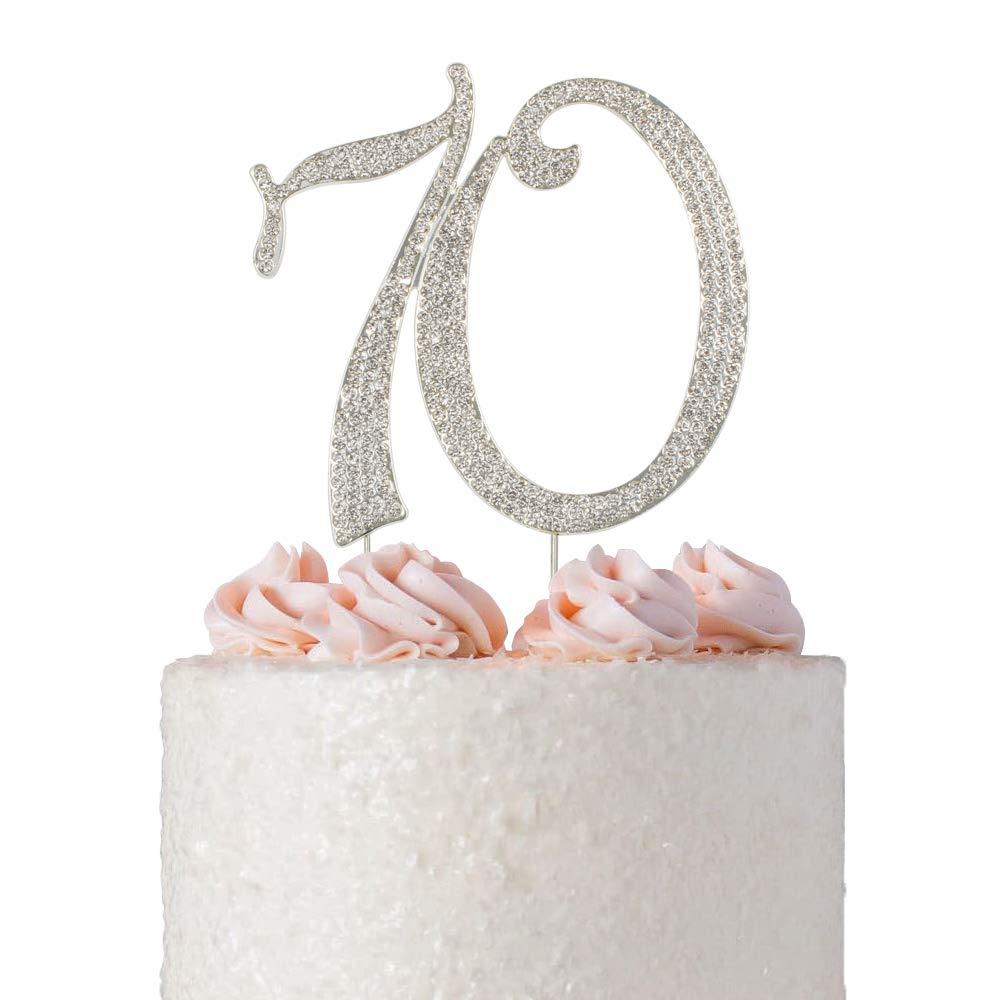 Adorno de pastel Premium cristal brillante diamantes gemas 70th cumpleaños o decoración de fiesta de aniversario Ideas recuerdo perfecto
