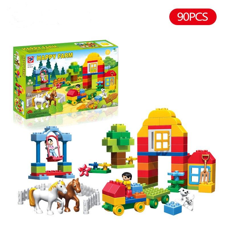 90 Uds Duplo animales de granja felices conjuntos de bloques de construcción partículas grandes animales juguetes de bloques de modelismo para niños placa base