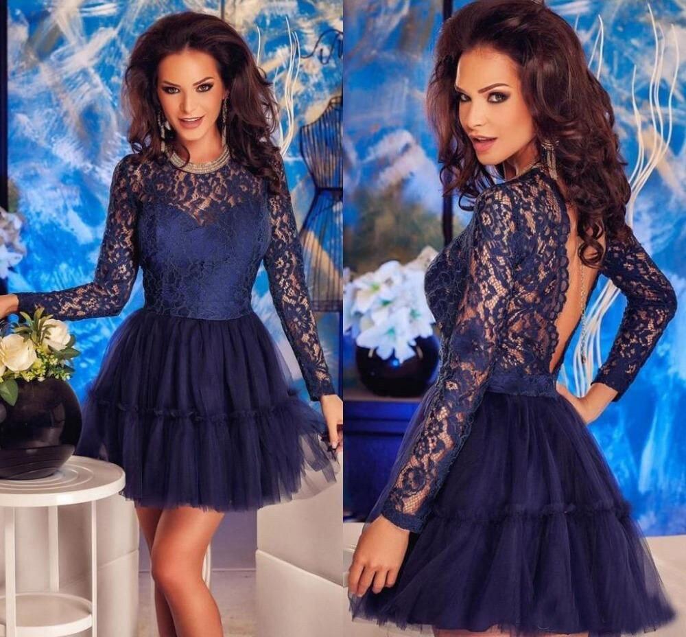 Long Sleeve A-Line Lace Dark Blue Homecoming Dresses 2019 Scoop Tulle Backless Graduation Dresses Mini vestido de formatura