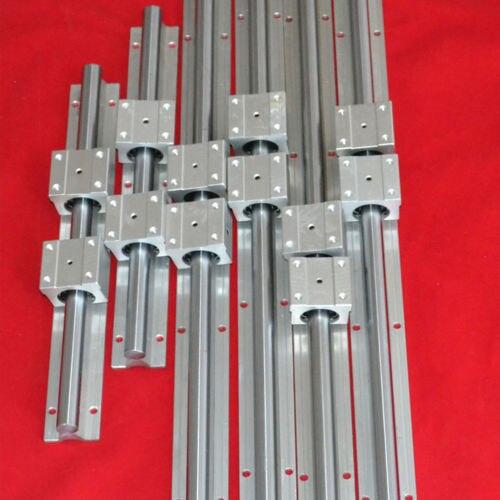 Soporte de riel lineal SBR12 300MM X 2 SBR16 500MM X 2 SBR20 800MM X 2 total de 6 rieles + 12 bloques para máquina CNC