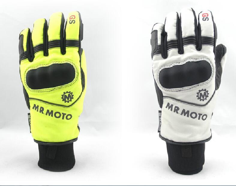 Guantes de calor para moto, engranaje de tornillo sin fin M, L, Xl, XXL, Negro, Rojo, cuero de carreras, moto de invierno, guantes largos para motos de nieve para hombre