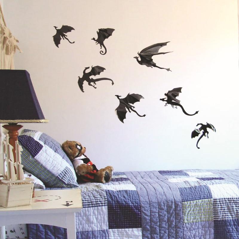 7 unids/set fantasía Halloween divertido Adhesivo de pared para decoración para dormitorio infantil dinosaurios niños regalo 3D dragón pared arte siluetas de dragón