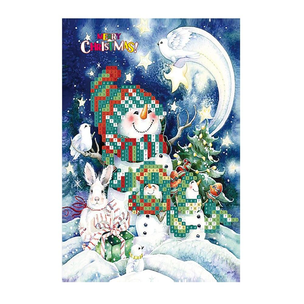 Tarjetas de Felicitación de navidad tarjetas de felicitación redondas 5D Kits de pintura de manualidades de diamantes tarjetas de pintura de diamantes Navidad