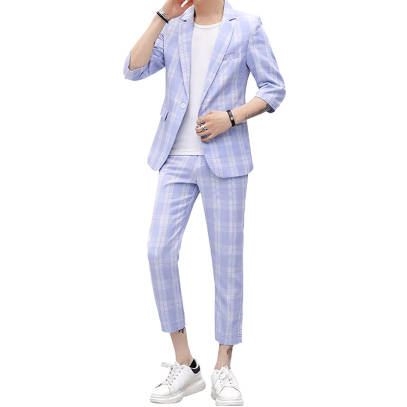 Men's mid-sleeved suit set men's five-point sleeve suit seven-point pants two-piece set of men's suit casual suit pants pants summer seven sleeved suit suit male korean version of the slim fashion hair stylist trend leisure suit two piece