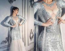 Sexy discothèque femmes bal robe de sirène à manches longues strass Performance Costumes robe une pièce Stretch Skinny femmes robe